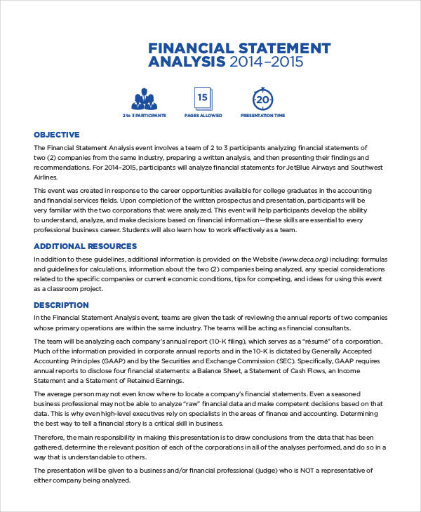 Corporate Financial Statement Regard To Company Financial Analysis Report Sample