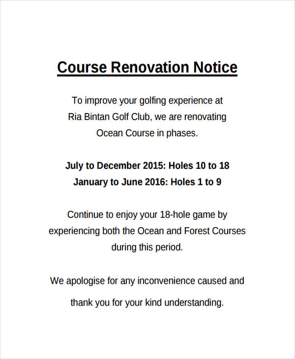 course renovation