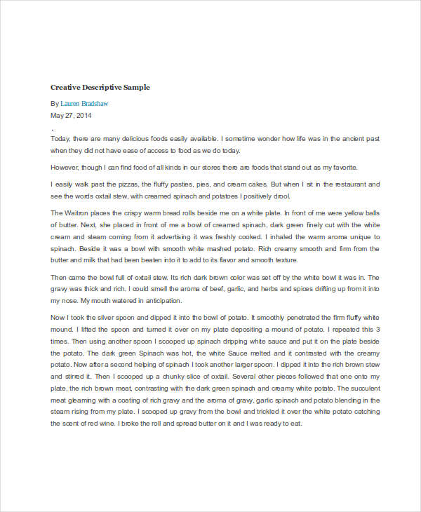 descriptive writing samples creative descriptive sample