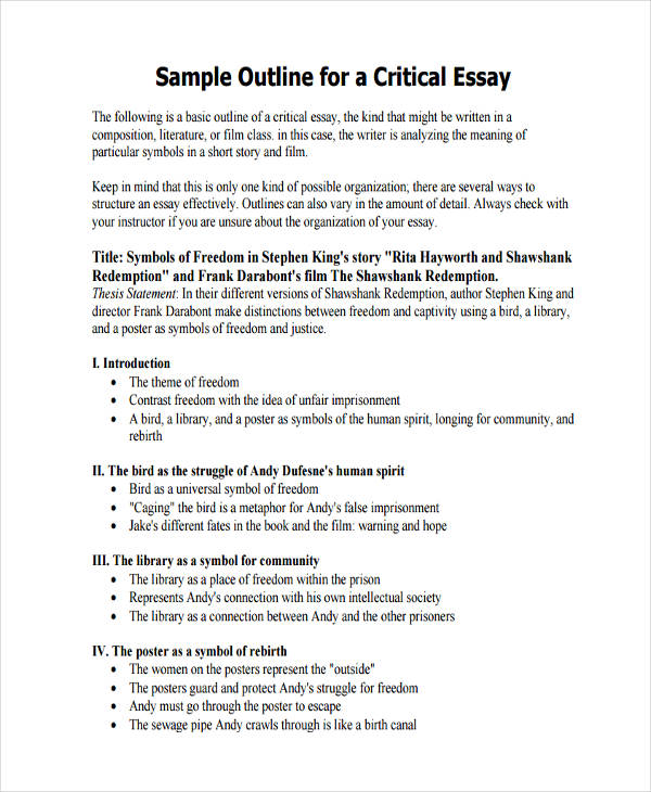of essay outlines critical essay outline sample
