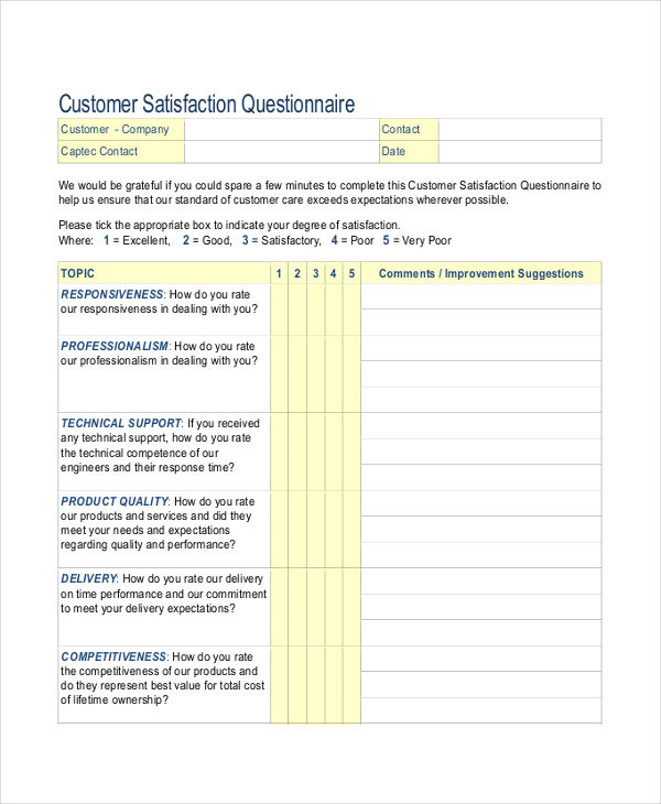 Customer Service Questionnaire Examples Samples