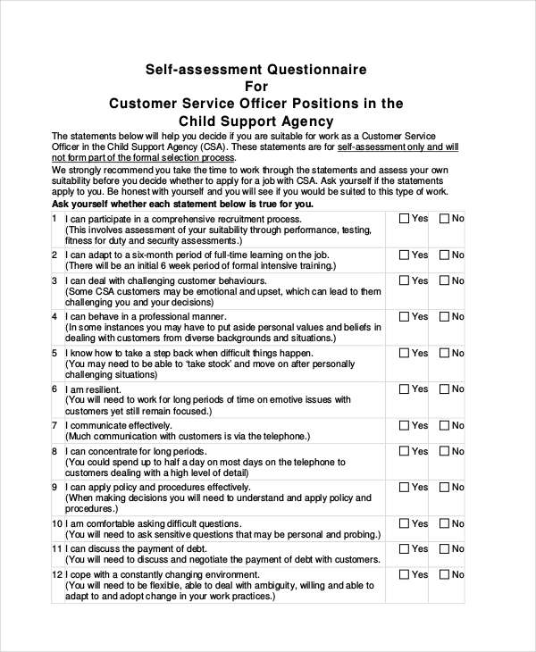 customer service self assessment