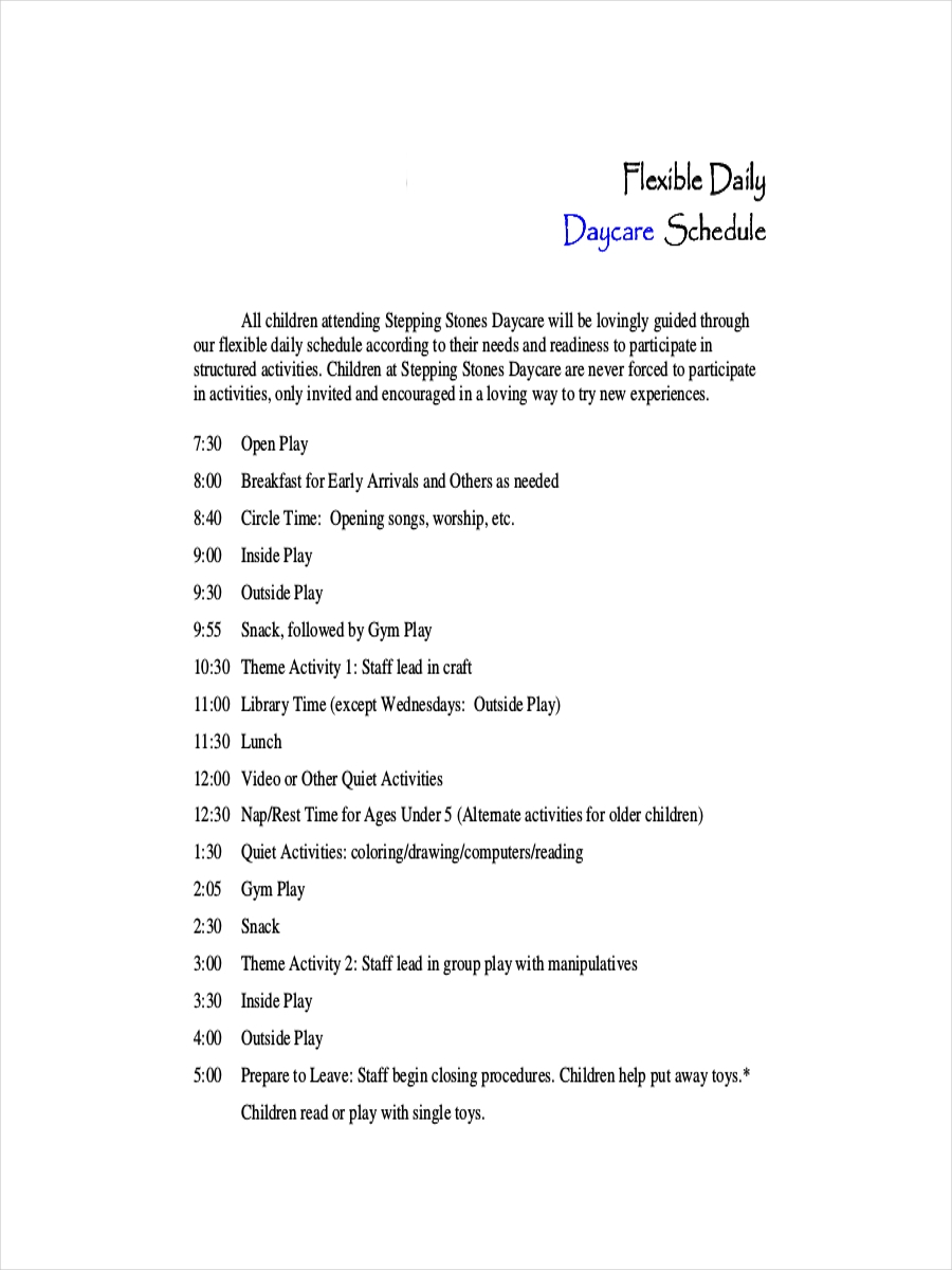 7+ Daycare Schedule Examples, Samples