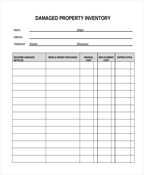 damaged property inventory