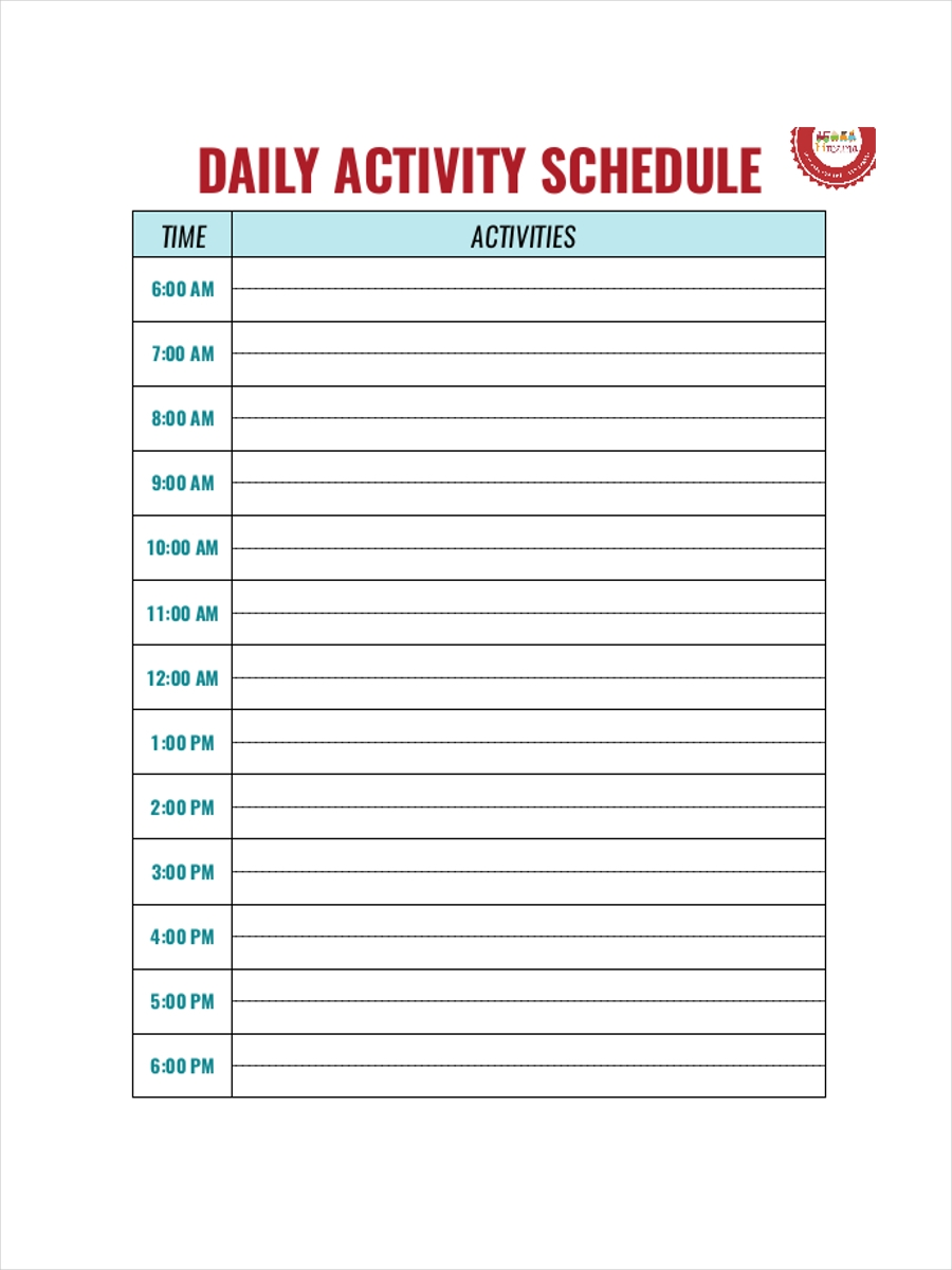 daycare activity schedule