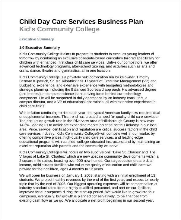 daycare business example