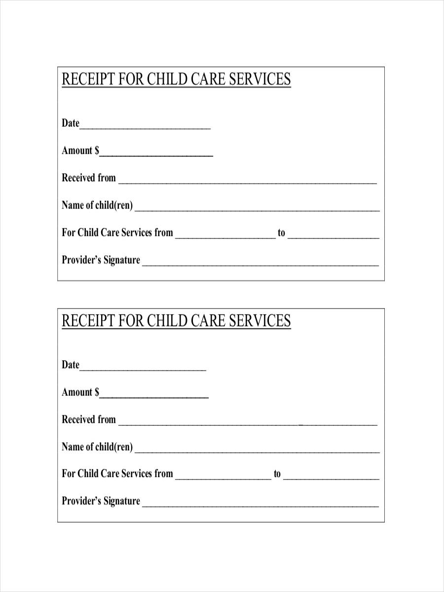 daycare receipt template