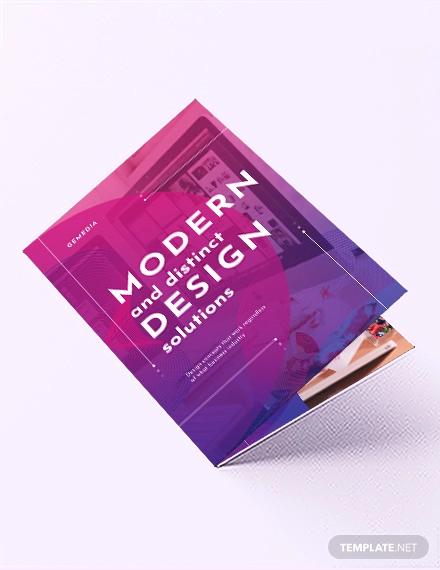 design company bi fold brochure template