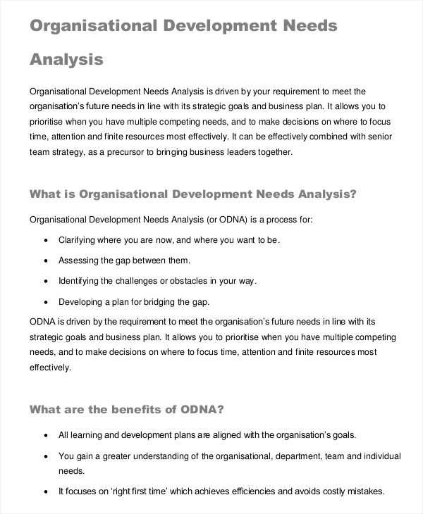 development needs analysis
