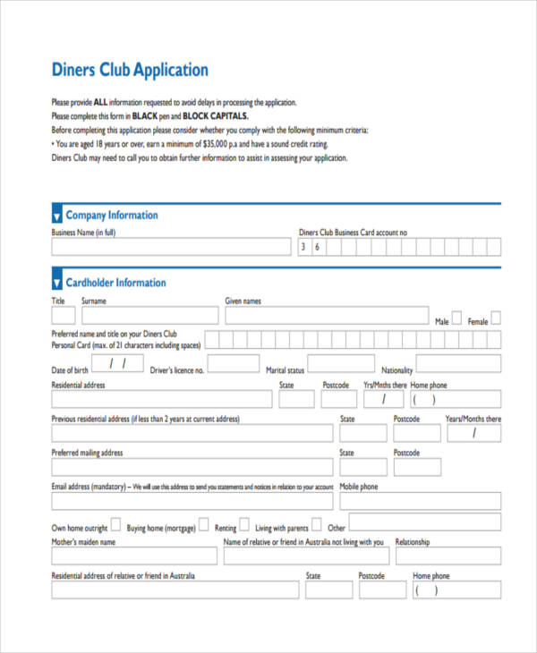 diners club application
