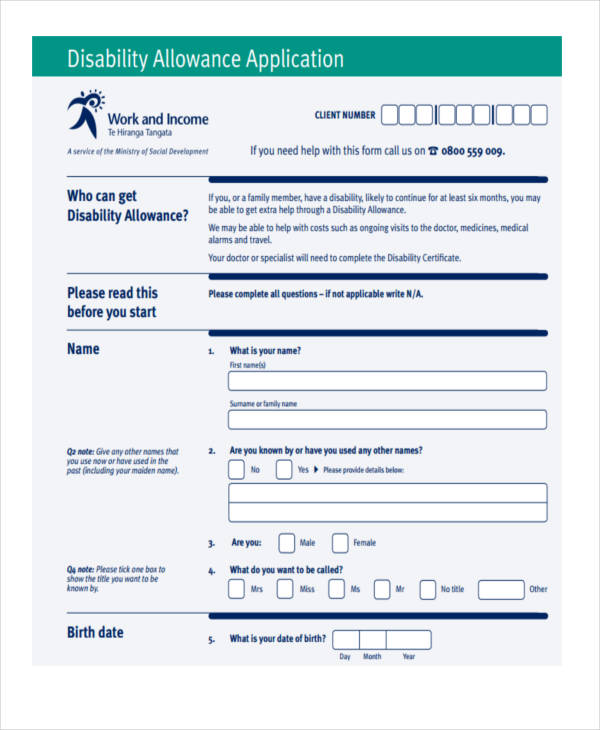 disability allowance application1