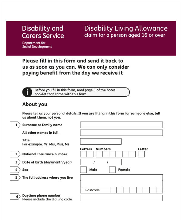 disability allowance sample