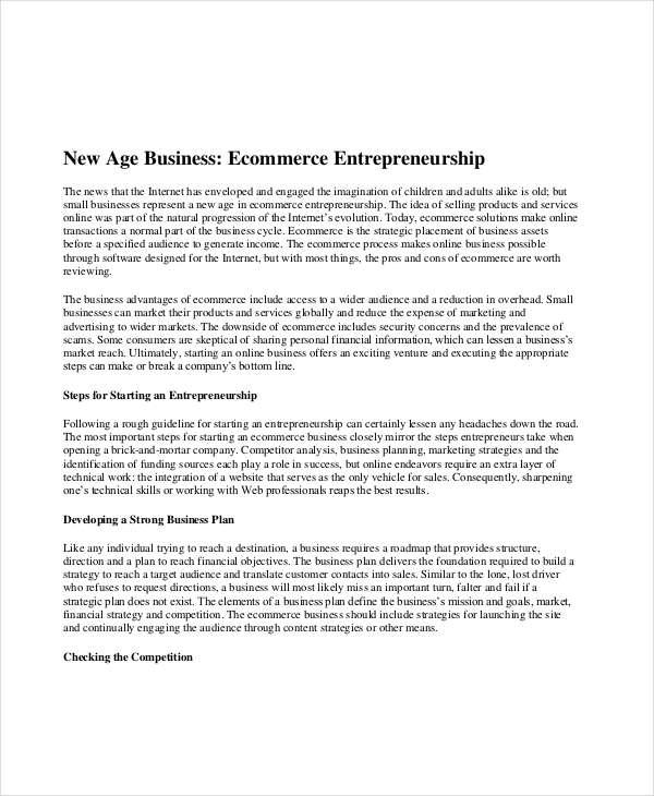 e commerce startup plan