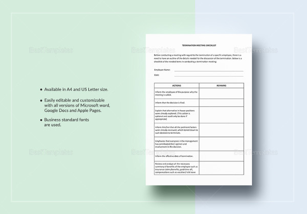 easy to edit termination meeting checklist template