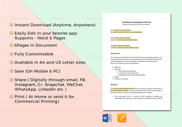 editable confidential memo template