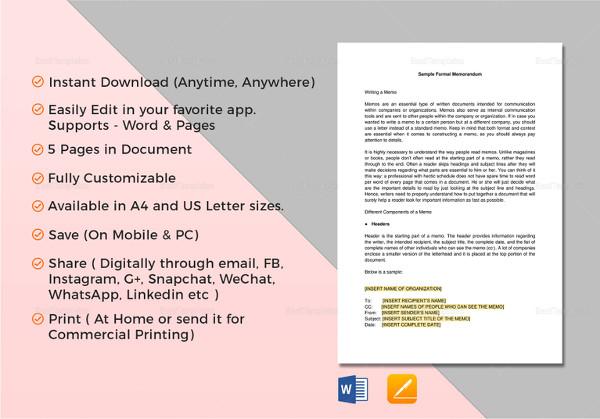 editable formal memorandum word template
