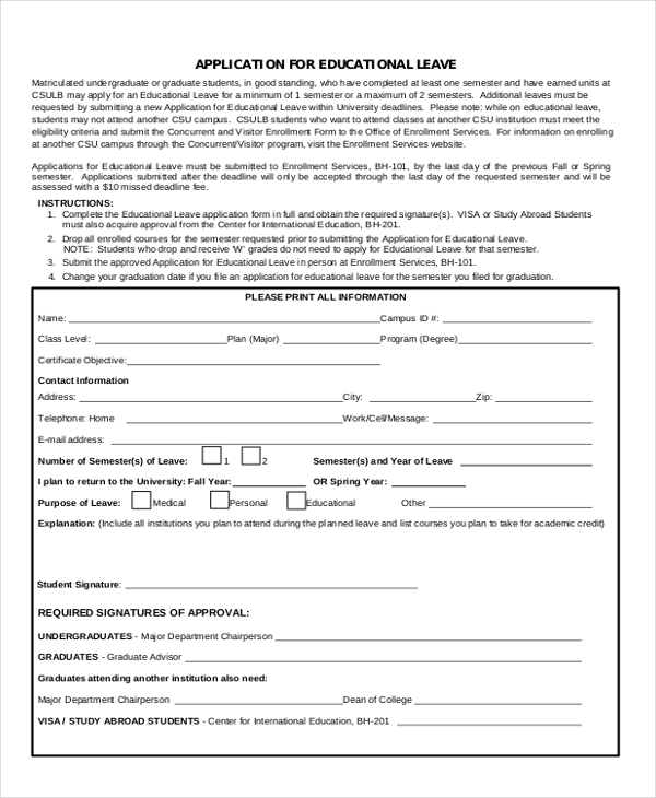 education leave application