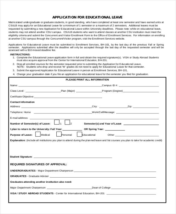 education leave application
