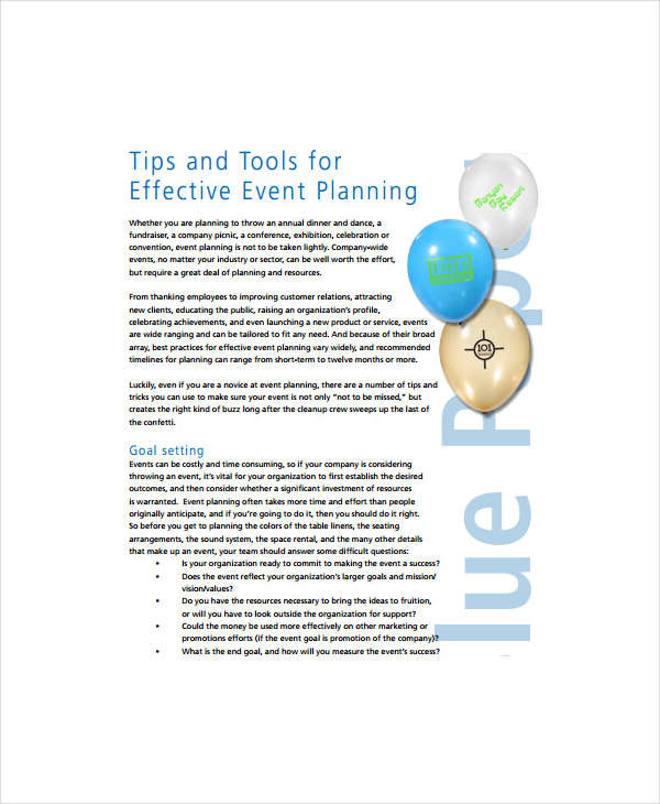 effective event plan