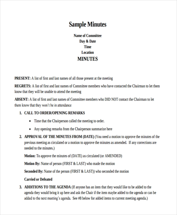 how to write meeting minutes sample