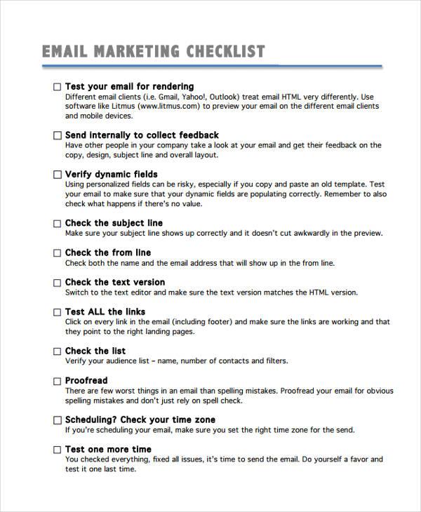 email checklist