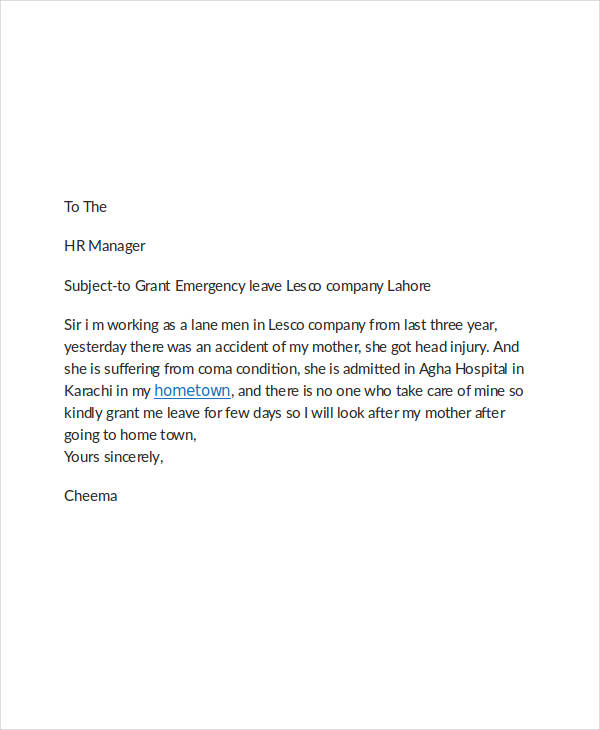 4 leave application email examples samples pdf doc emergency leave email example spiritdancerdesigns Choice Image