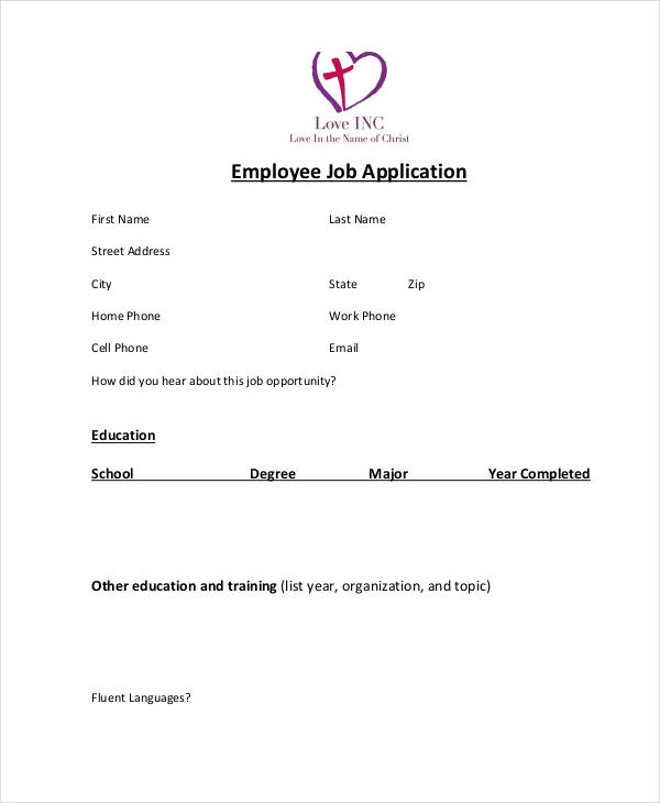 6 job application examples samples