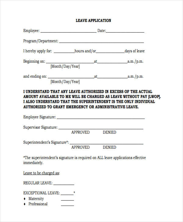 employee leave application