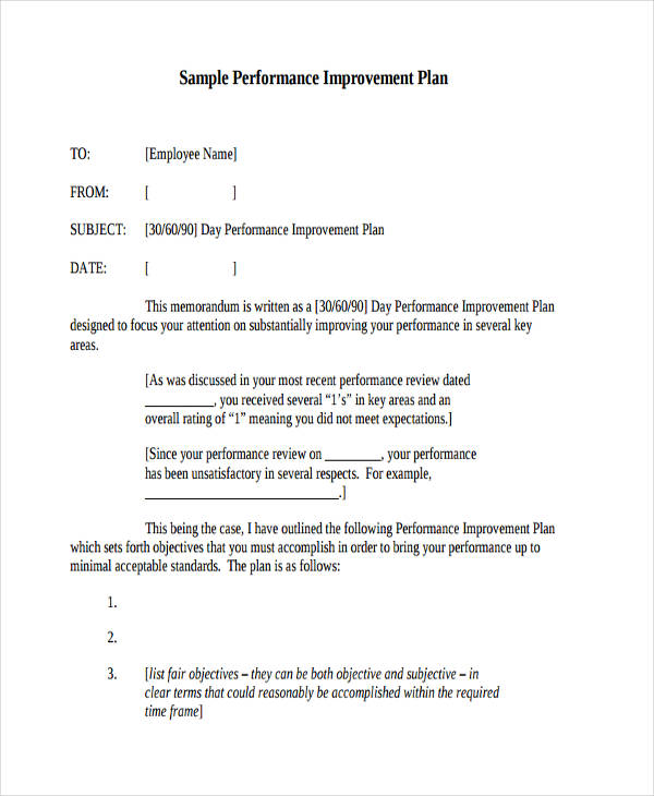 Employee Performance Improvement Plan  Employee Performance Improvement Plan Template