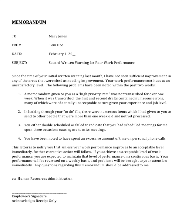 Blank Memo Template Employee Performance Memo Sample  Employee