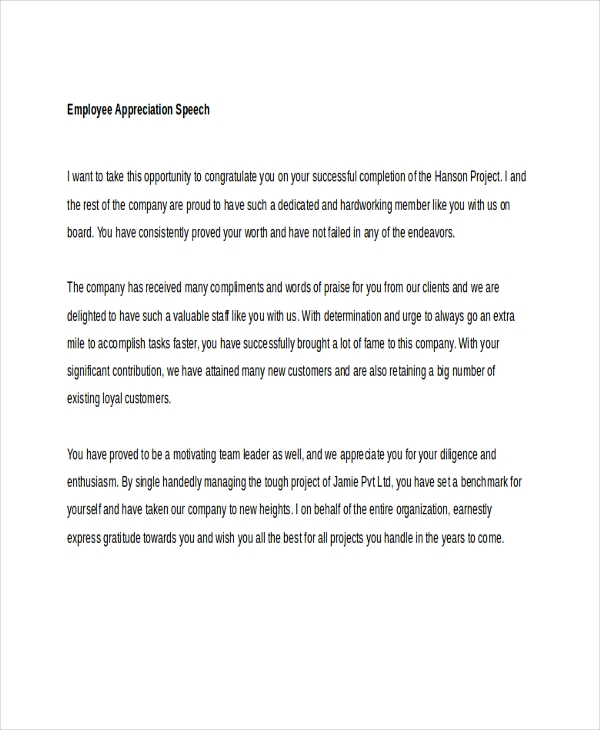 6 appreciation speech examples samples employee speech spiritdancerdesigns Choice Image