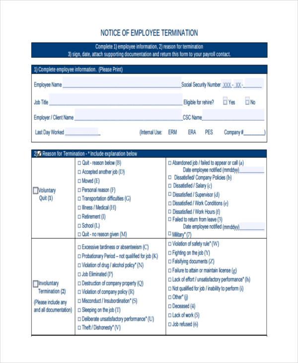 employee termination sample