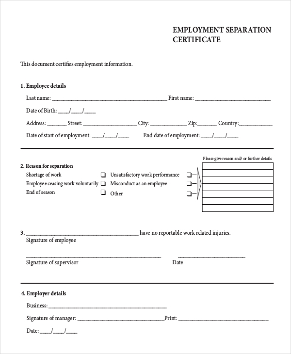 Employment separation certificate form for Employment separation certificate template