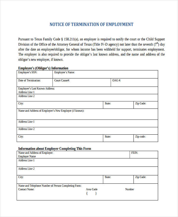Notice Of Employment Termination  Employment Termination Letters