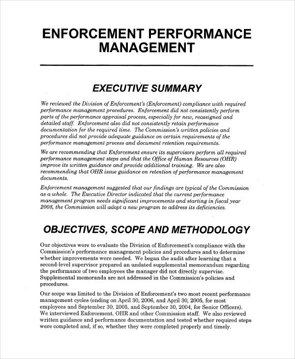 Examples Of Performance Management