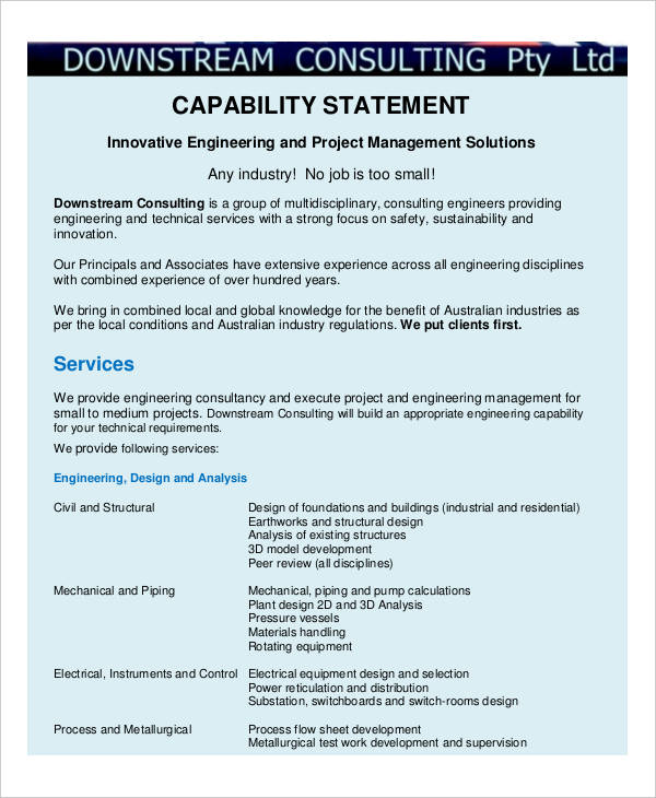 engineering capability example