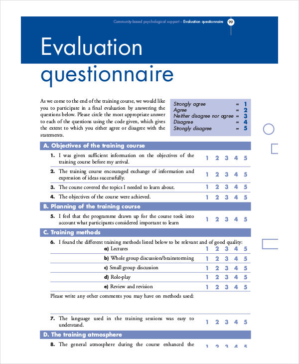 evaluation questionnaire1