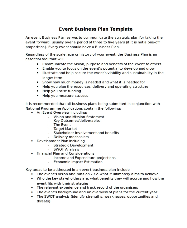 22 business plan examples event business plan example event business example1 cheaphphosting Gallery