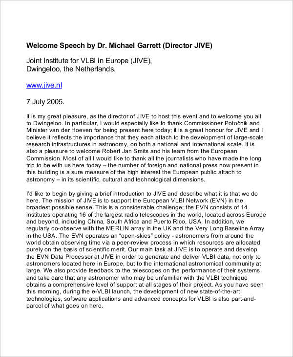 7+ Welcome Speech Examples & Samples - PDF