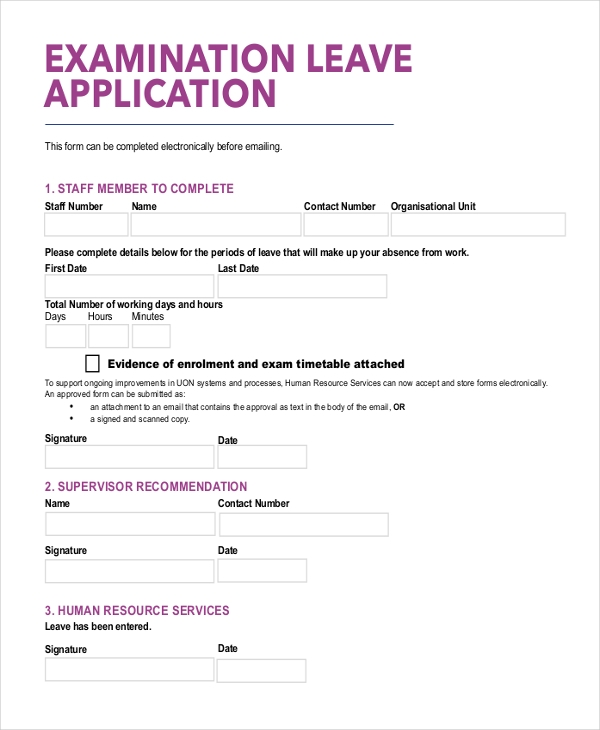 examination leave application