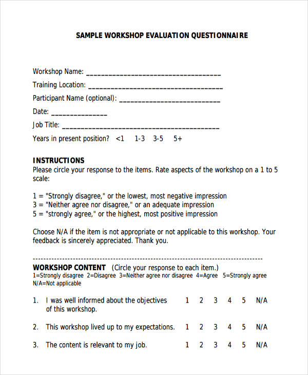 38 questionnaire templates examples examples of evaluation questionnaire thecheapjerseys Gallery