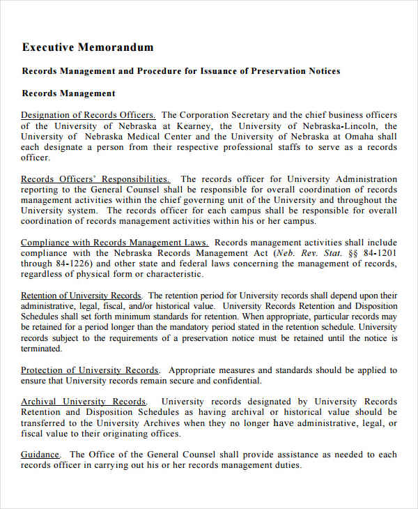 Executive Memo Templates Executive Summary Memorandum Executive
