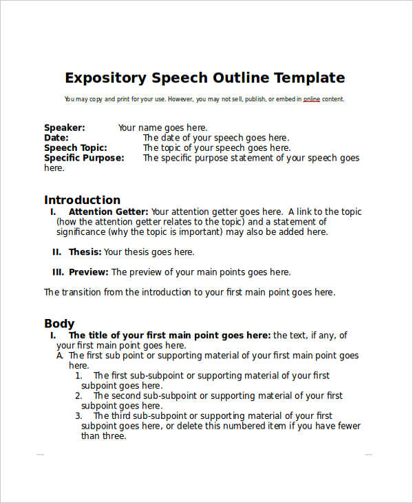 Speech Outline Examples Samples