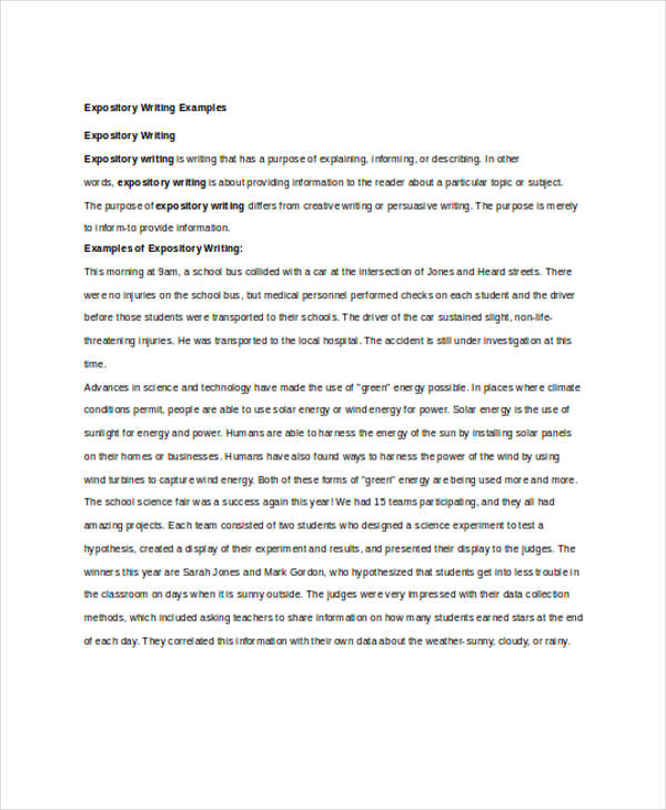 writing examples expository writing example
