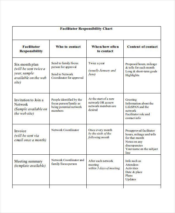facilitator responsibility example