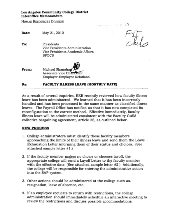 Faculty Interoffice Memorandum  Inter Office Communication Letter