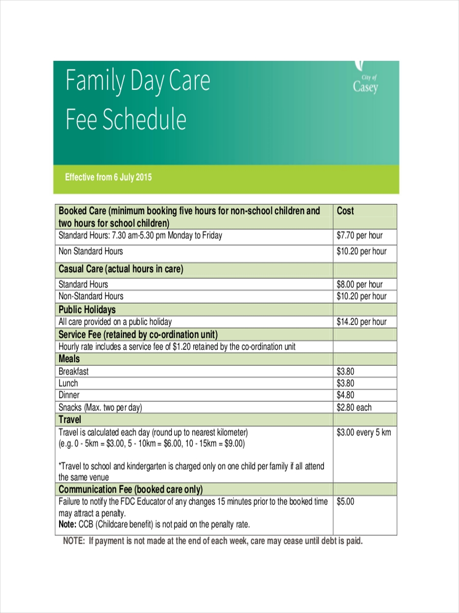 family daycare schedule