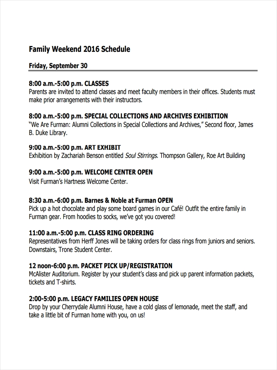 family weekend schedule