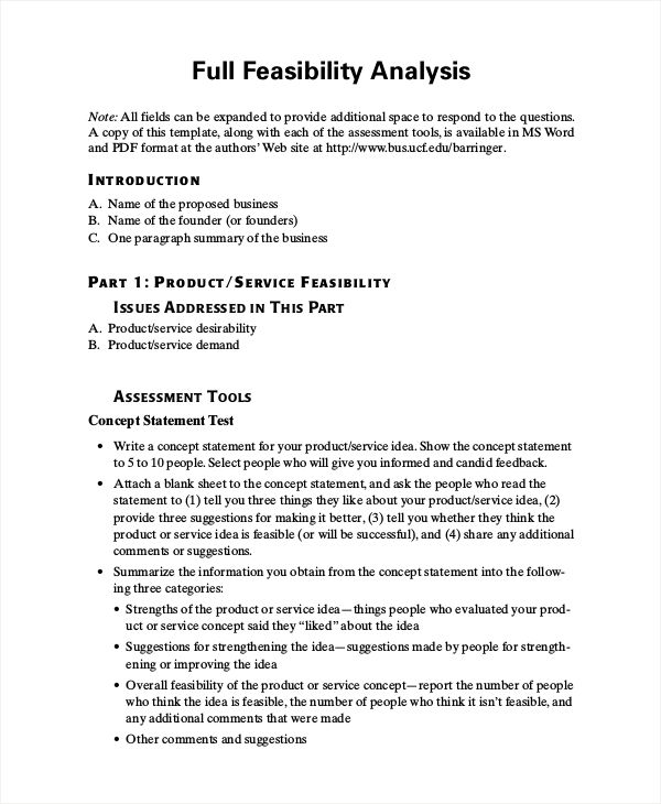 feasibility analysis example