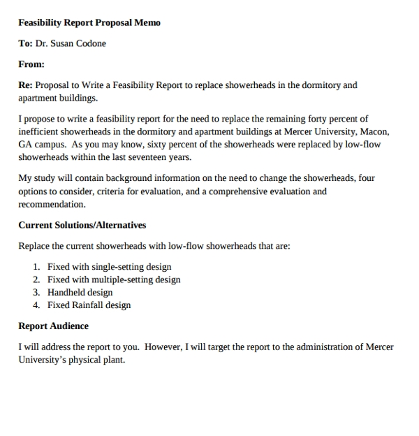 feasibility report proposal memo